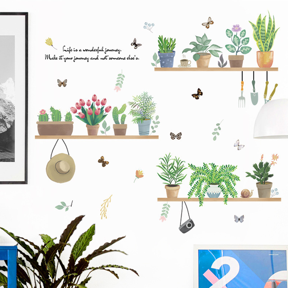 Cute Removable Green Plant Potted Pattern Wall Sticker Home Decoration XL7249