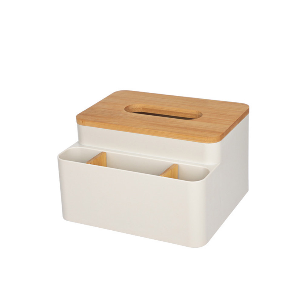 Wooden Rectangle Napkin Organizer Tissue Holder for Hotel Home Table Remote Control Storage Box  apricot