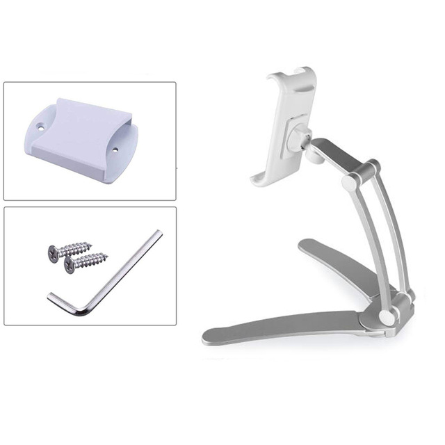 2-in-1 Kitchen Tablet Stand Wall Desk Mount Tablet Stand Fit For Tablet Smartphone Holders white