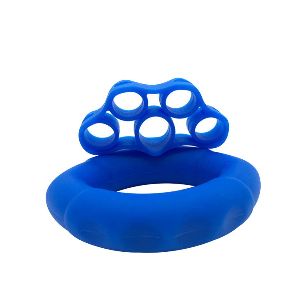 Finger Pull Ring+Resistance Bands For Training Rubber Loop Pull Ring Hand Grip Expander Wrist Training Carpal Fitness Grip 40LB + Rally 8.8LB Royal Blue