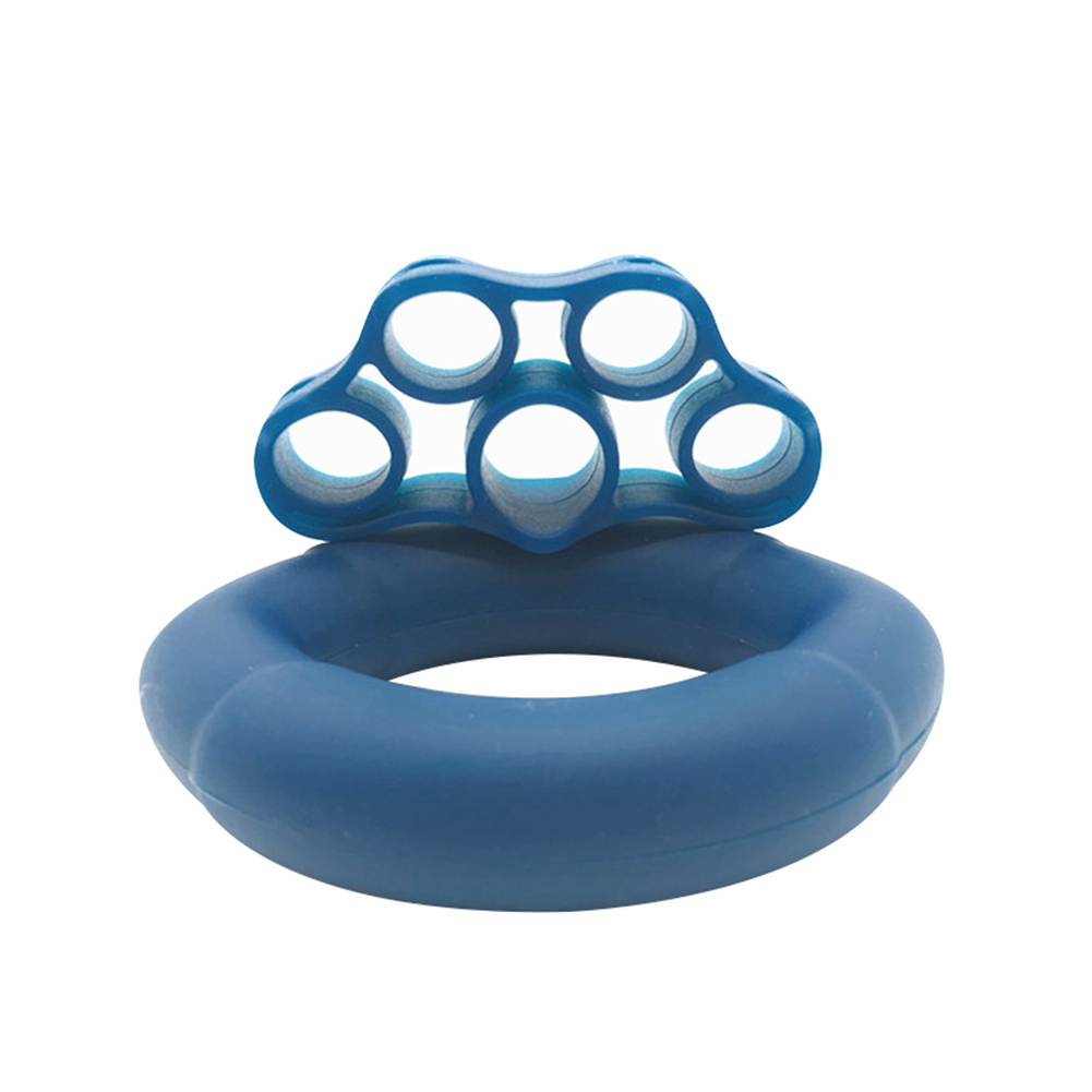 Finger Pull Ring+Resistance Bands For Training Rubber Loop Pull Ring Hand Grip Expander Wrist Training Carpal Fitness Grip 50LB + Tension 11LB Navy