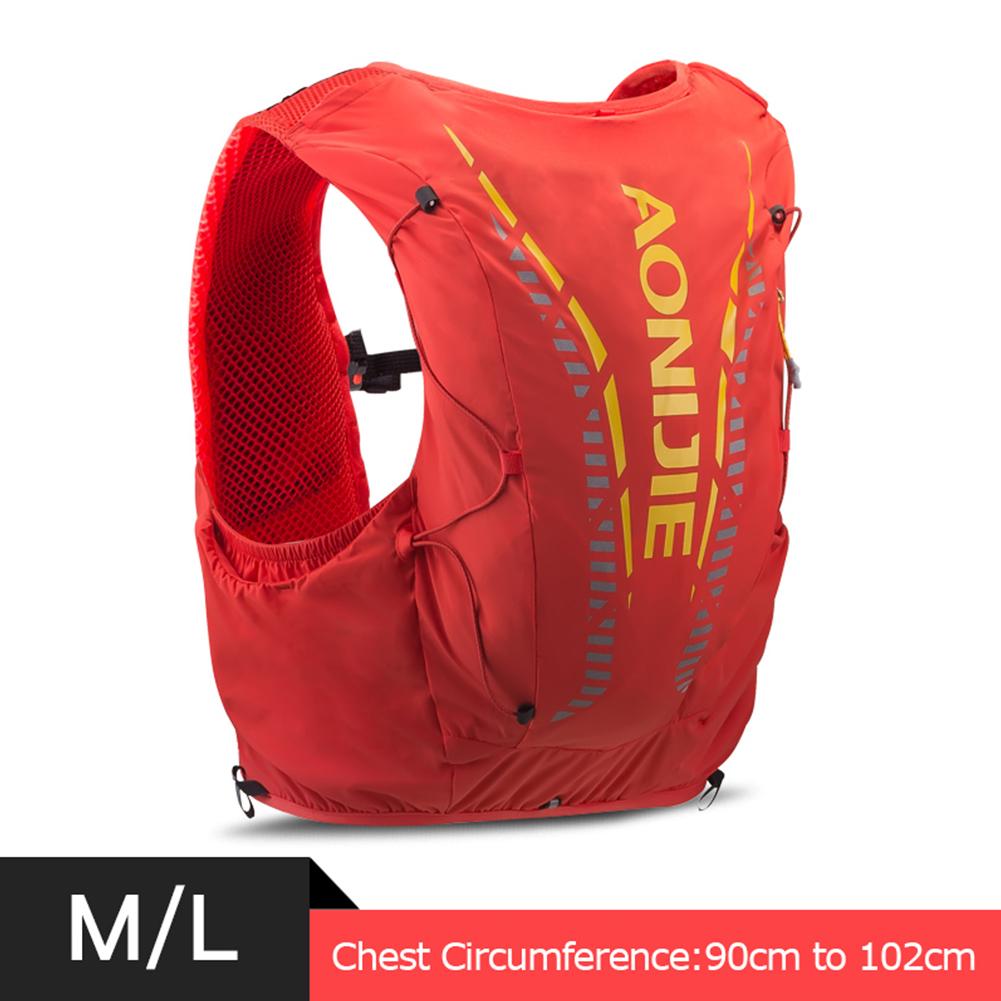 12L Backpack Vest Bag Soft Water Bladder Flask For Hiking Trail Running Marathon Race Orange Red M/L