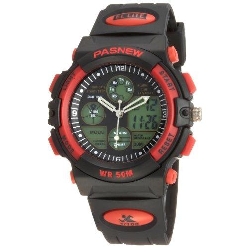 OYang 50m Water-proof Digital-analog Boys Girls Sport Digital Watch with Alarm Stopwatch Chronograph (Red)