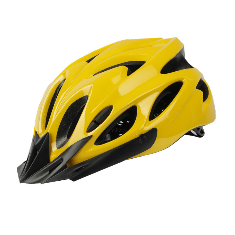 Bicycle Cycling Helmet EPS+PC Cover Integrated-Mold Breathable Riding Helmet MTB Bike Safely Cap Riding Equipment yellow_Head circumference 52-60 can be adjusted