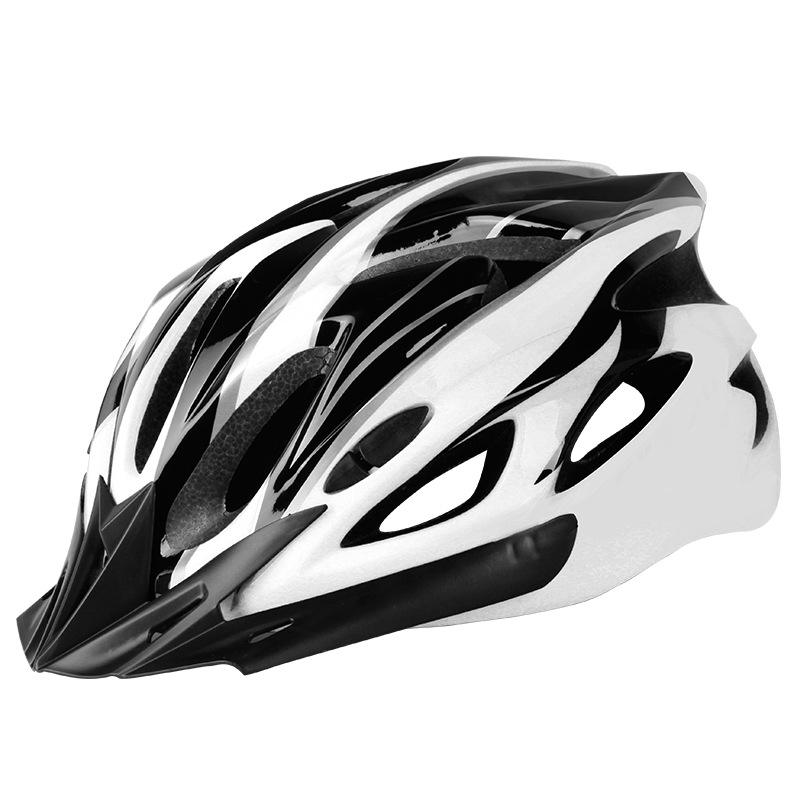 Bicycle Cycling Helmet EPS+PC Cover Integrated-Mold Breathable Riding Helmet MTB Bike Safely Cap Riding Equipment Black and white_Head circumference 52-60 adjusted