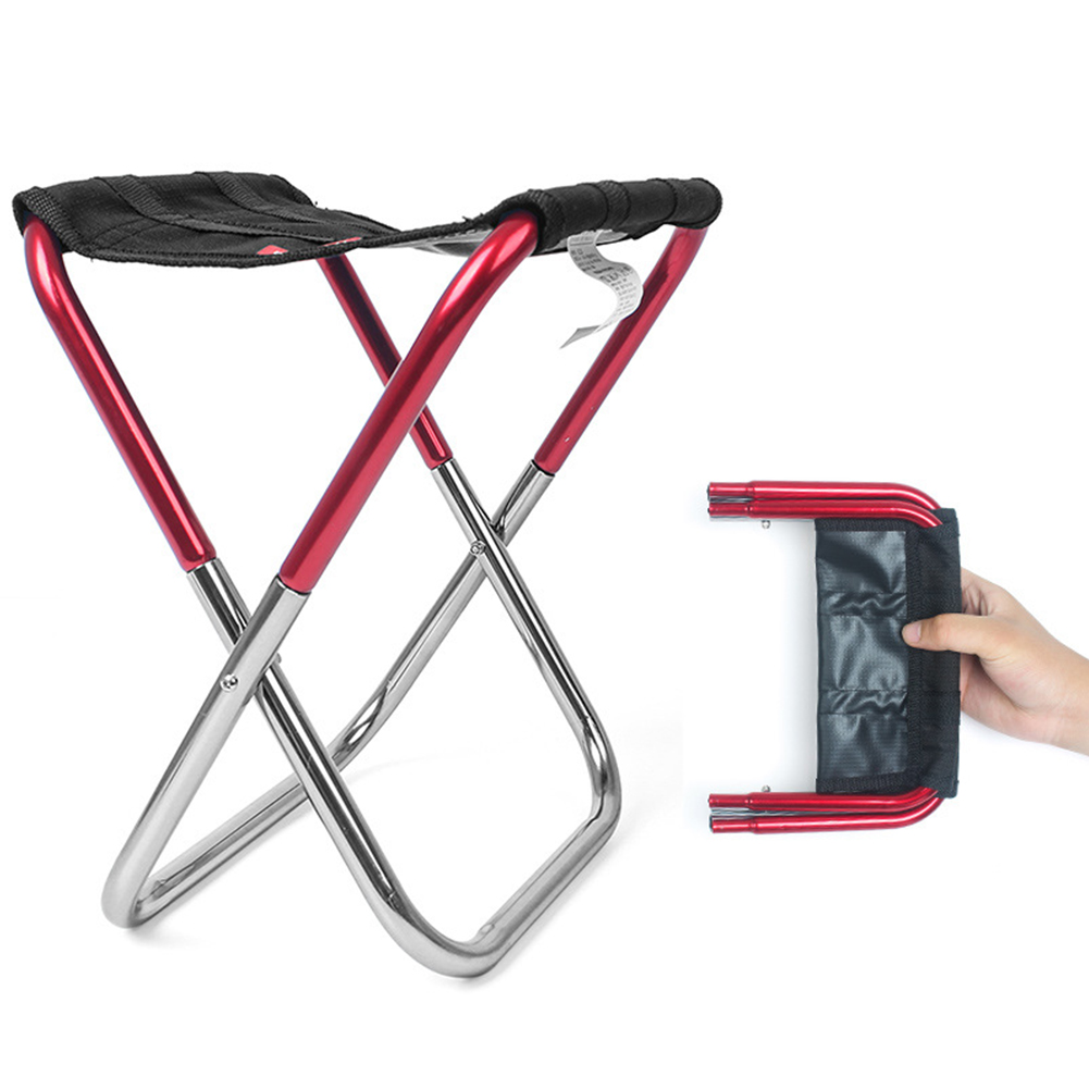 Outdoor Foldable Stool Simple Mini Chair Portable Camping Fishing Train Stool Queue Chair red