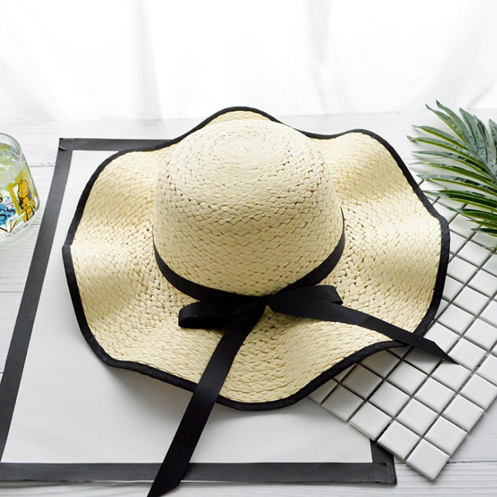 Women Elegant Straw Bowknot Large Brim Sunscreen Outdoor Cap