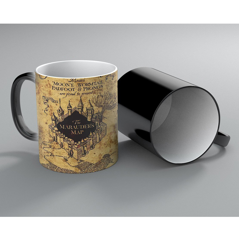 [US Direct] Magic Heat Sensitive Color Changing Coffee Cup Unisex Harry Potter Map Mug 350ml