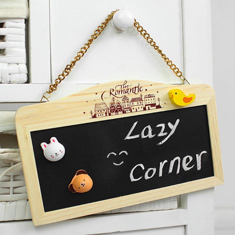 [US Direct] Creative Wood Hanging Chain Magnetic Black White Double Side Rectangle Mini Chalkboard