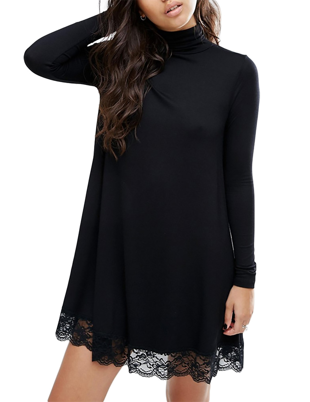 [US Direct] Leadingstar Women's Knitting Turtleneck Long Sleeve Loose Lace Cotton Casual Dress Black