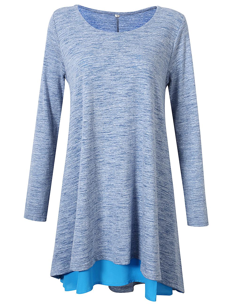 [US Direct] Leadingstar Women's Long Sleeve Round Neck A-line Skirt Pendulum Stitching Loose T-shirt Dress Gray S