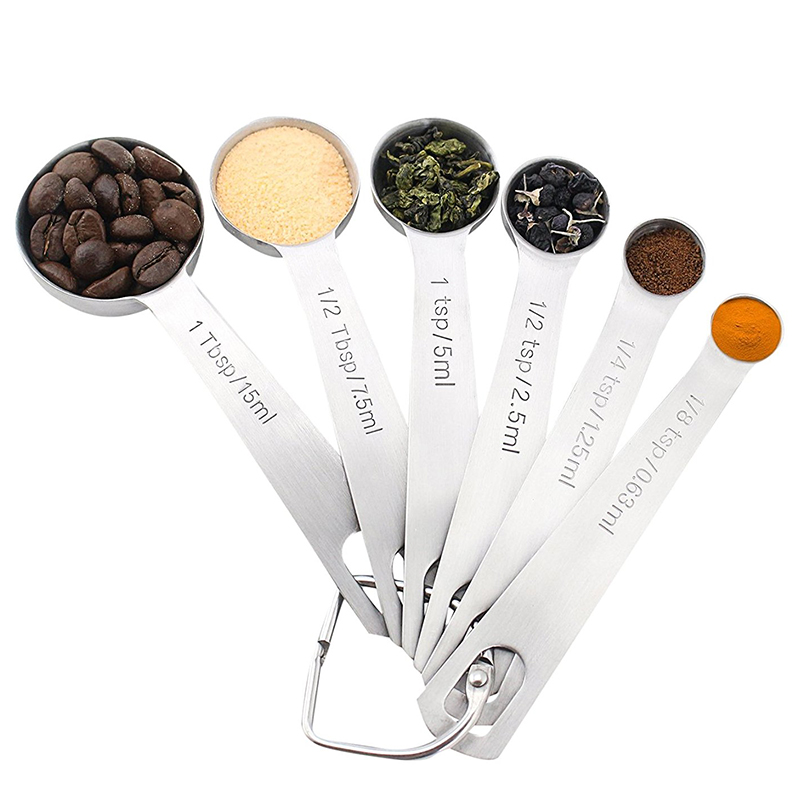 Set of 6PCS Stainless Steel Measuring Spoons for Dry and Liquid Ingredients Kitchen Tool