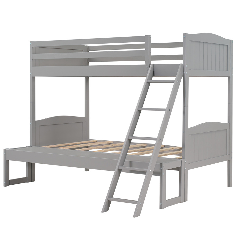 [US Direct] Twin Over Twin/full Convertible Bunk  Bed With Ladder Bed With Removable Platform gray