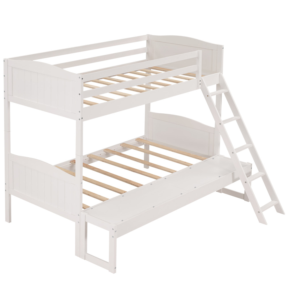 [US Direct] Twin Over Twin/full Convertible Bunk  Bed With Ladder Bed With Removable Platform white