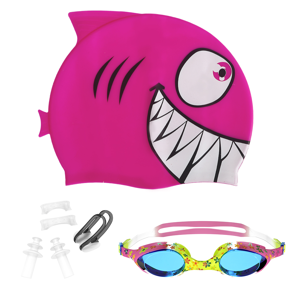 Idealhouse Swimming Cap Swimming Goggles, Premium-Quality Silicone Swim Cap&Anti Fog UV Protective Goggles for Children(Nose Clip Ear Plugs Sets Included), 2 Pack