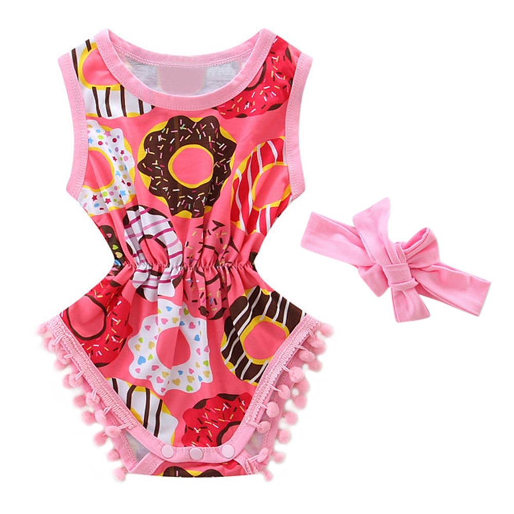 Baby Girls Toddler Printed Pompom Sleeveless Romper Summer Clothes + Headband