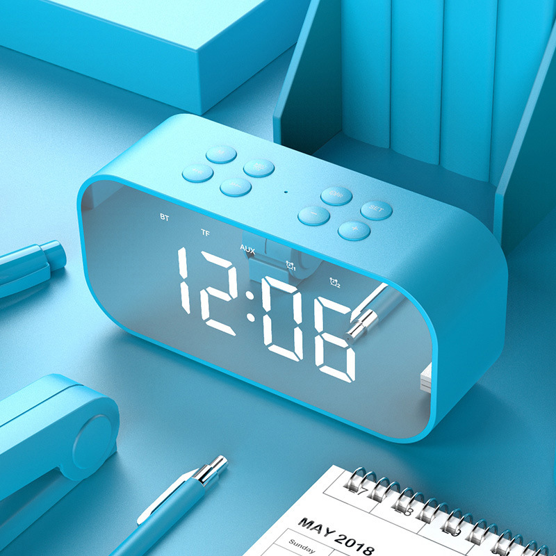 BT501 Portable Buletooth Speaker with Alarm Clock 5.0 Stereo Sound Speaker Digital Alarm Clock blue