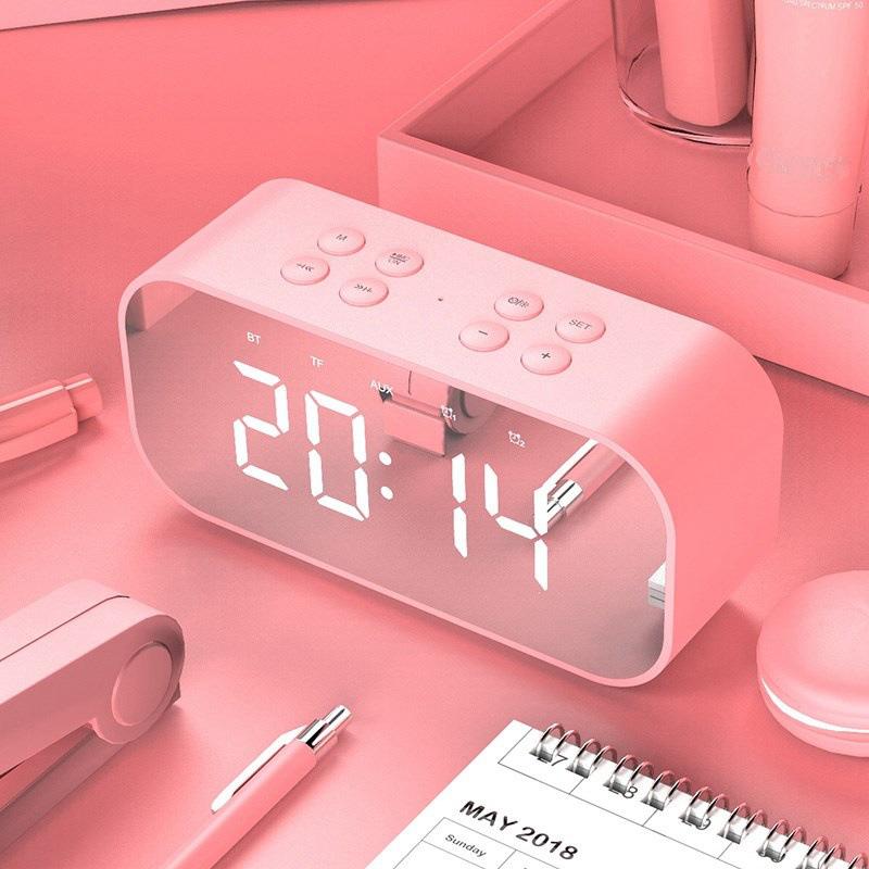 BT501 Portable Buletooth Speaker with Alarm Clock 5.0 Stereo Sound Speaker Digital Alarm Clock Pink