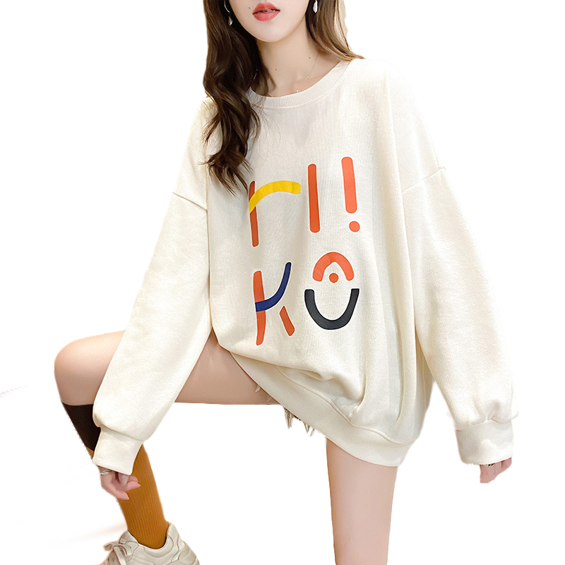Women's Hoodie Spring and Autumn Thin Loose Pullover Long-sleeve  Hooded Sweater Apricot _L