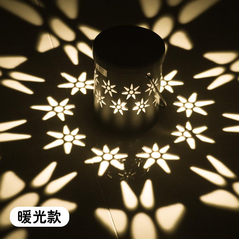 LED Solar Power Iron Lamp Hollow Out Porable Decorative Yard Garden Hanging Light Warm light 3000k