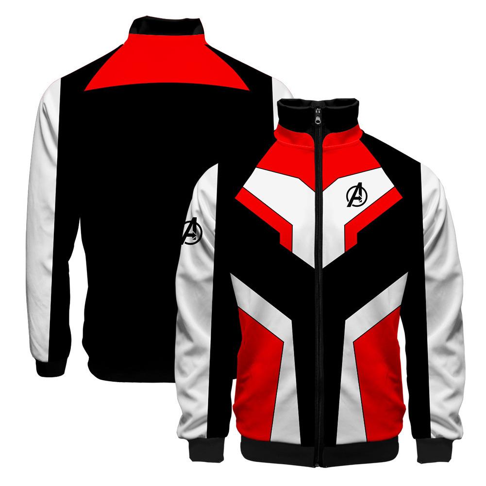 Women Men Cool Avengers Endgame Design Casual 3D Digital Printing Long Sleeve Zipper Jacket B_XL