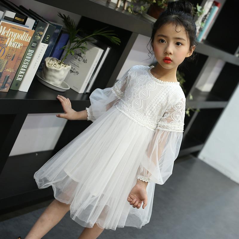 Baby Kids Girls Elegent Lace Mesh Tutu Princess Dress  creamy-white_160cm