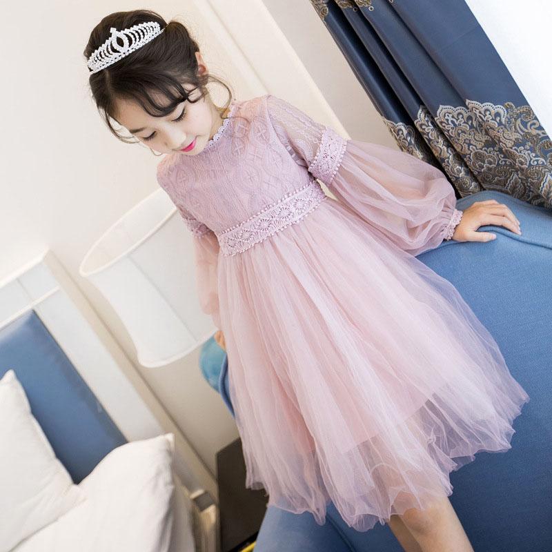 Baby Kids Girls Elegent Lace Mesh Tutu Princess Dress  Pink purple_140cm
