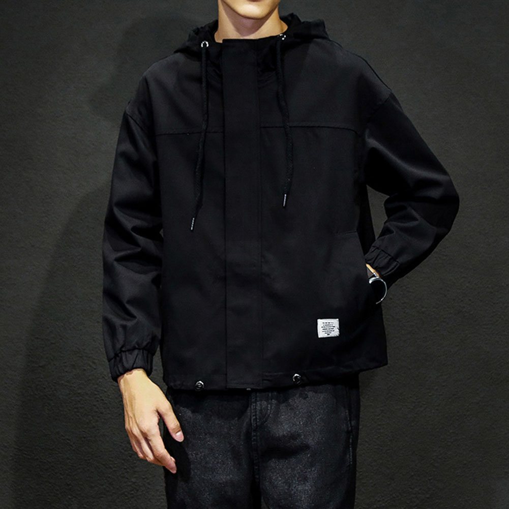 Men Jacket Autumn Large Size Hooded Fashion Magic Sticker Loose Coat Black_M