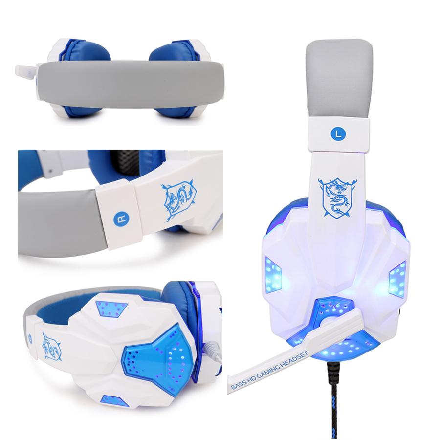 Gaming Headphone USB5.1 stereo game light headset Folding Headset for Gamer White blue