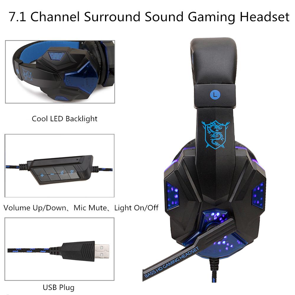 Gaming Headphone USB5.1 stereo game light headset Folding Headset for Gamer dark blue