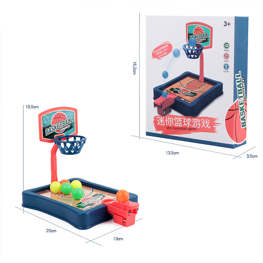 Mini Basketball  Toy Parent-child Family Fun Table Game Desktop Basketball Shooting Hoop Games blue