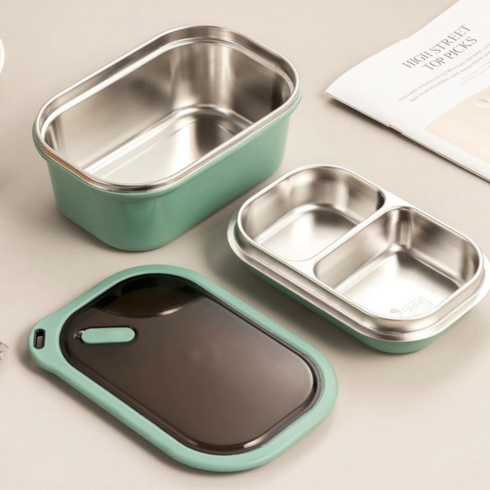 Portable Stainless Steel Student Compartment Sealed Lunch Box Food  Container green