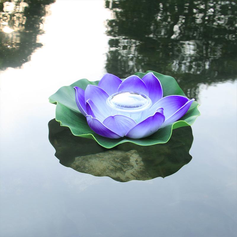 Solar Powered LED Flower Light Lotus Shape Floating Pond Garden Pool Lamp purple