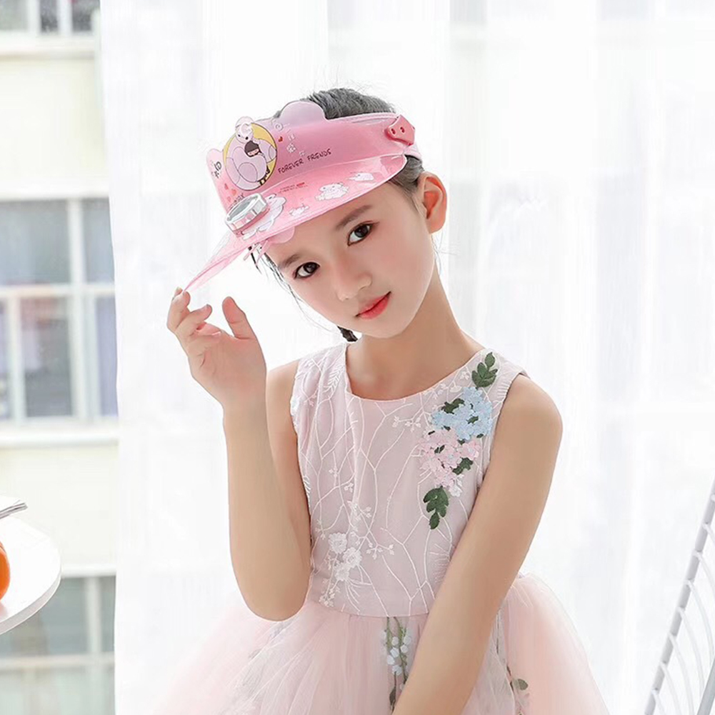 Children Girl Boy Hat Cartoon Pattern Sunhat Empty Top Solar Fan Cap Pink