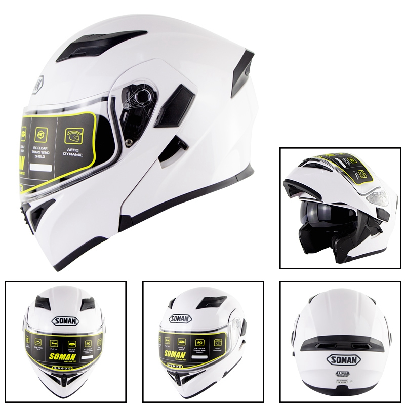 Motorcycle Helmet Unisex Double Lens Uncovered Helmet Off-road Safety Helmet white_L