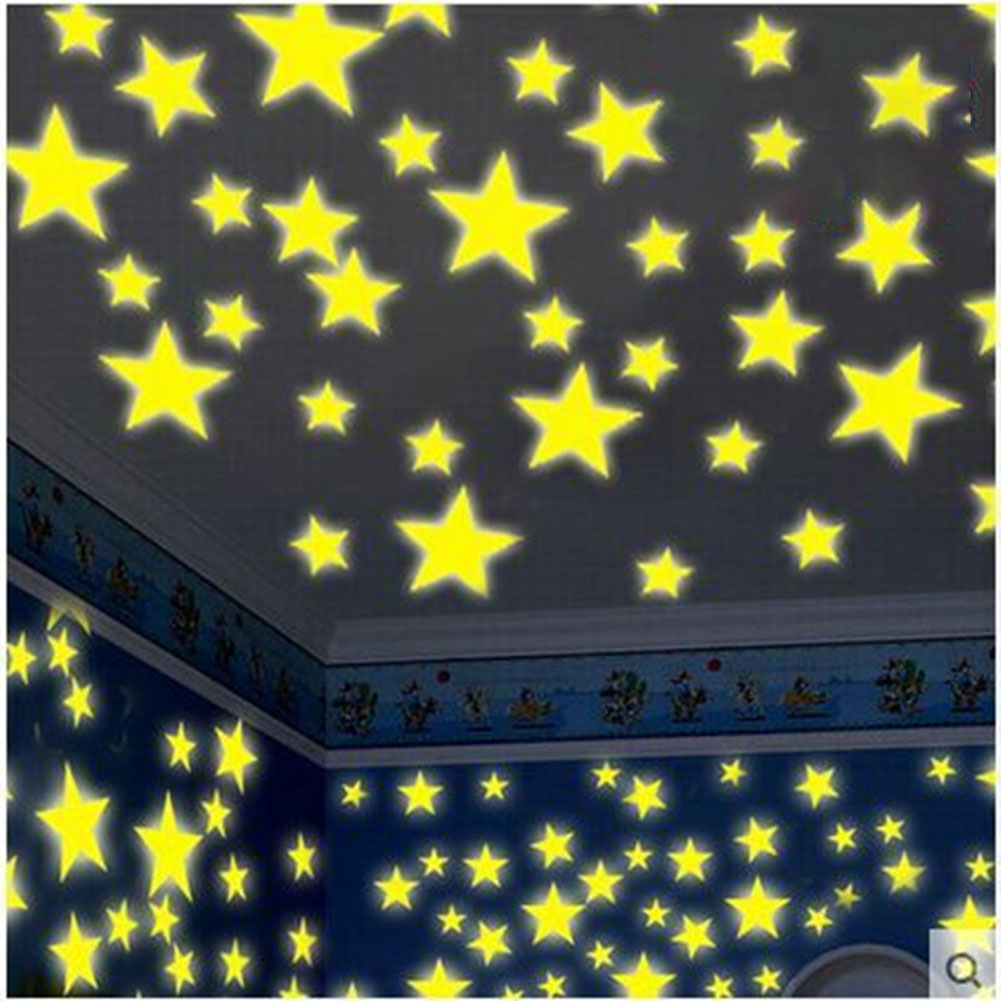 Pretty Yellow Glow in The Dark Fluorescent Luminous Wall Stickers Art Mural for Kids Bedroom Ceiling Decoration 3CM Yellow 100 Stars