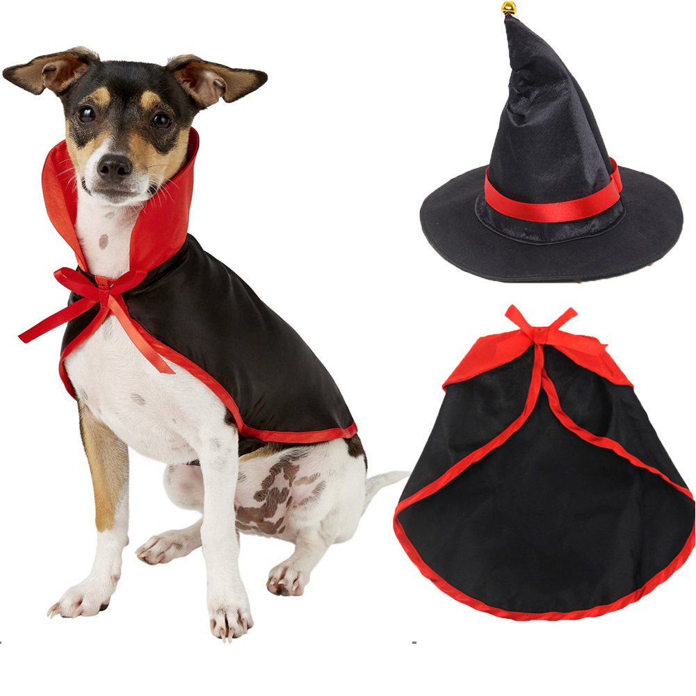 Pet Cloak Cape Hat Set for Cats Dogs Halloween Cosplay Accessaries S