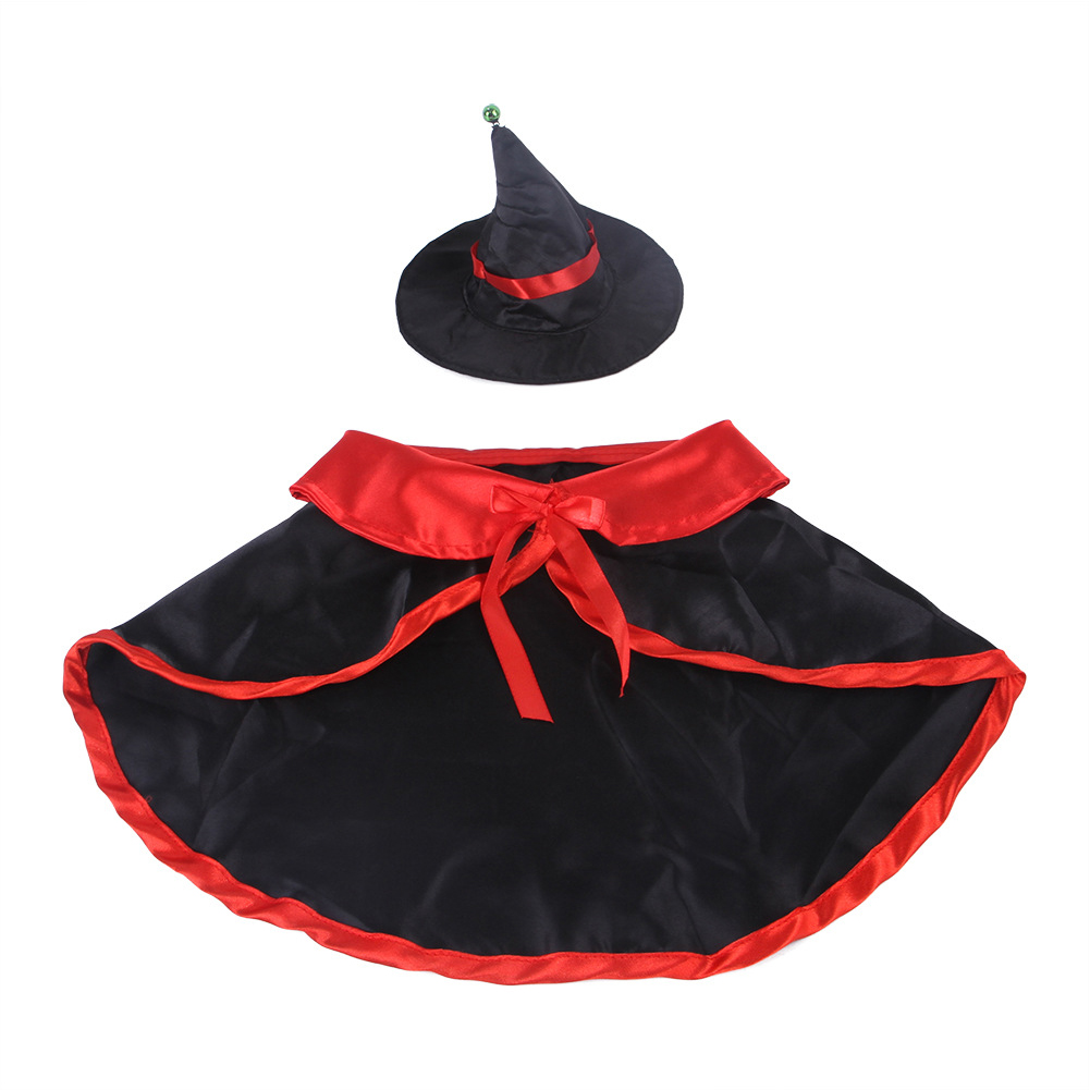 Pet Cloak Cape Hat Set for Cats Dogs Halloween Cosplay Accessaries M