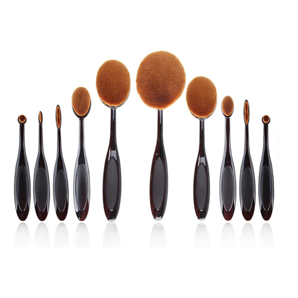 SaiDeng 10Pcs/Set Black Toothbrush Shaped Eyebrow Foundation Power Face Eyeliner Lip Oval Cream Puff Brushes Makeup Beauty Tools