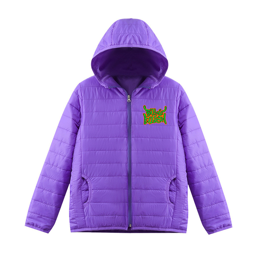 Thicken Short Padded Down Jackets Hoodie Cardigan Top Zippered Cardigan for Man and Woman Purple C_M