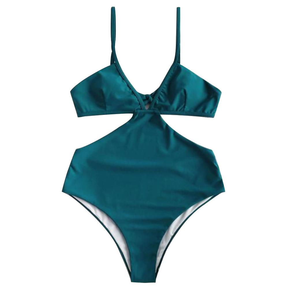 Women Swimsuit Halter Solid Color Sexy One-piece Bikini Swimwear green_M