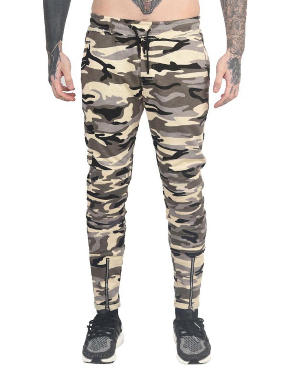 Stylish Men Camouflage Sports Trousers with Zipper Leg Opening Elastic Band Waist Long Pants Gift Yellow Camo_L