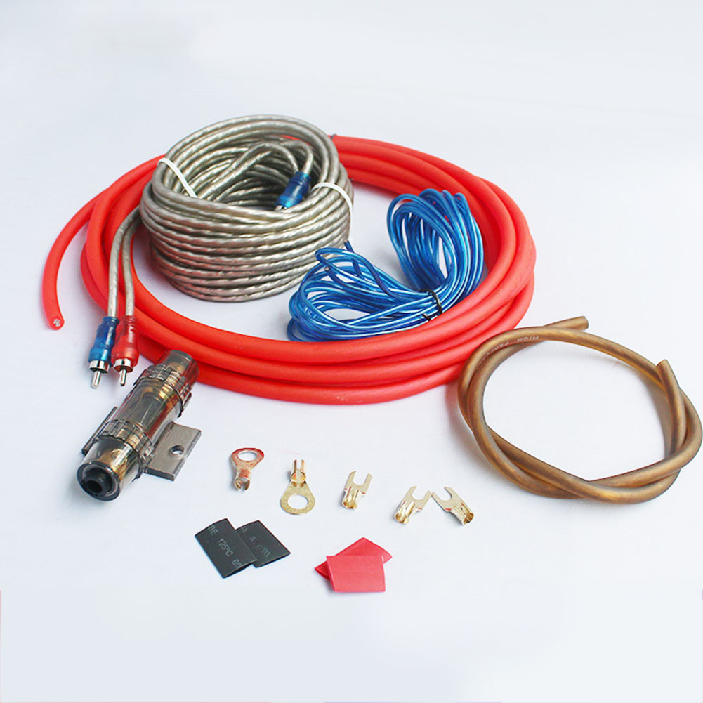 Amplifier Subwoofer Speaker Installation 8GA 5m Power Cable 1500W AMP Fuse Holder Car Audio Speakers Wiring Kits Cable 60A 8GA