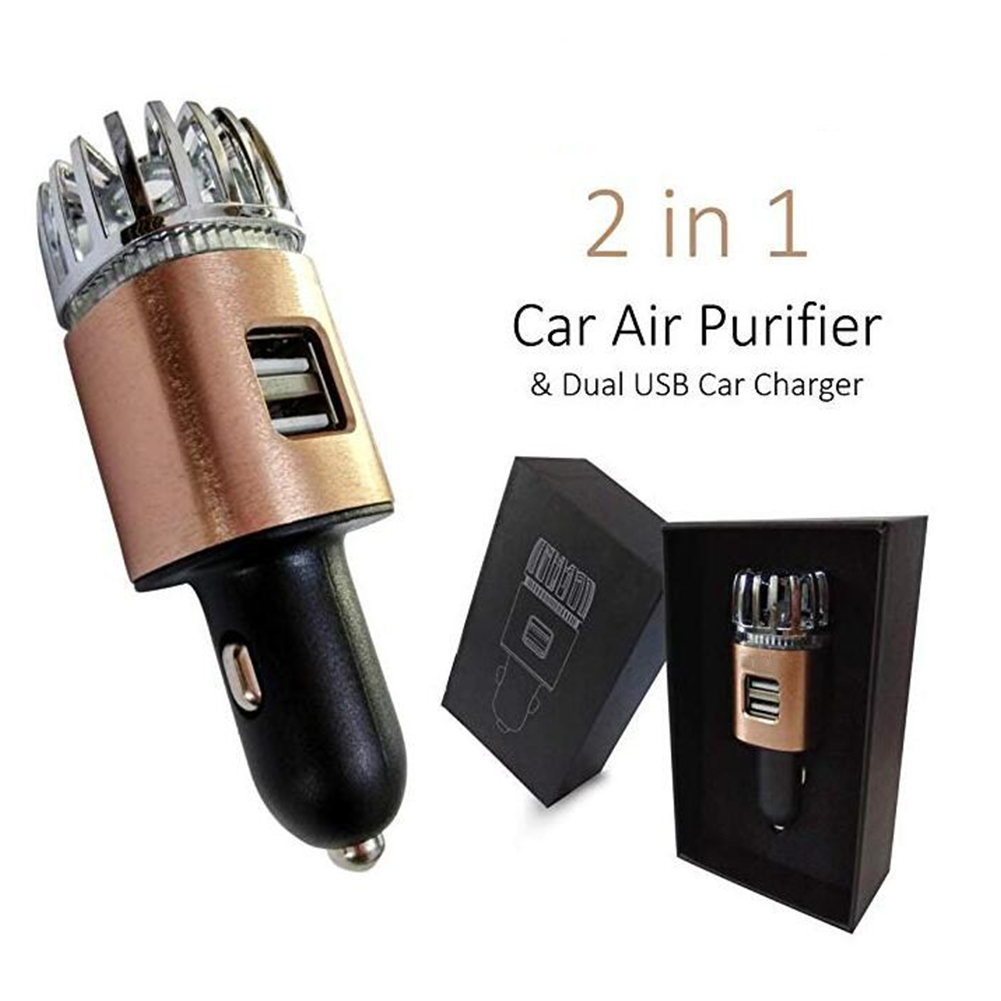 Car Air Purifier, Freshener Adapter with 2 USB Ports, Filter Ionizer - Eliminates Allergens, Smoke, Pet & Food Odor, Smell Bright copper