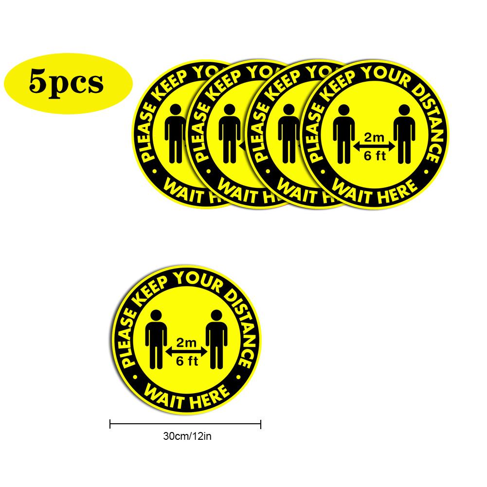 5pcs/10pcs Social Distancing Floor Decals For Floor Safety Notice Floor Marker PLEASE KEEP YOUR DISTANCE WAIT HERE 5pcs