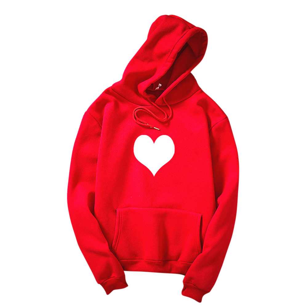 Women Men Heart-shaped Printing Loose Casual Long Sleeve Fleece Hooded Sweatshirts Red white heart_M