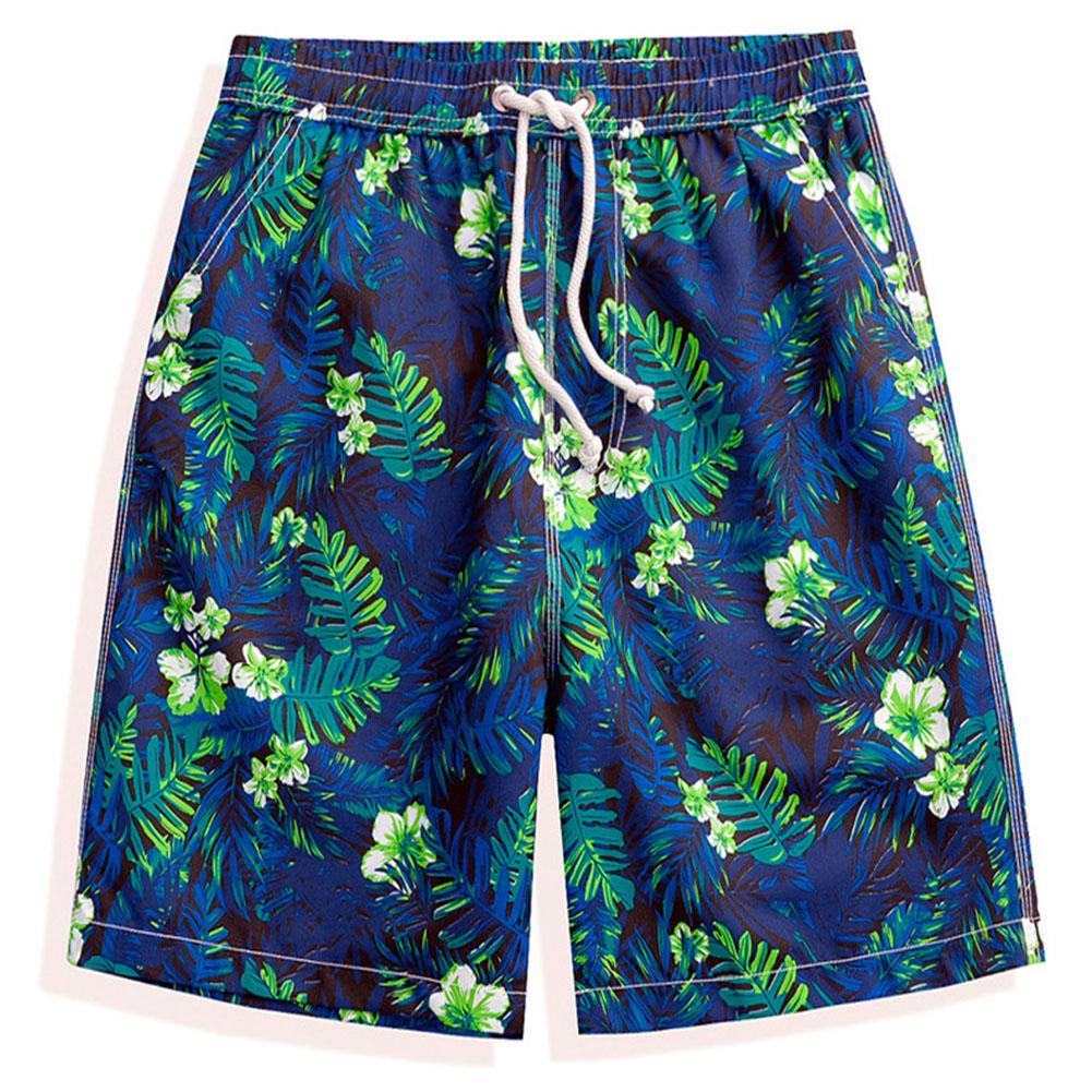 Men Summer Fast Dry Casual Shorts Lightweight Breathable Drawstring Shorts Green leaf_L