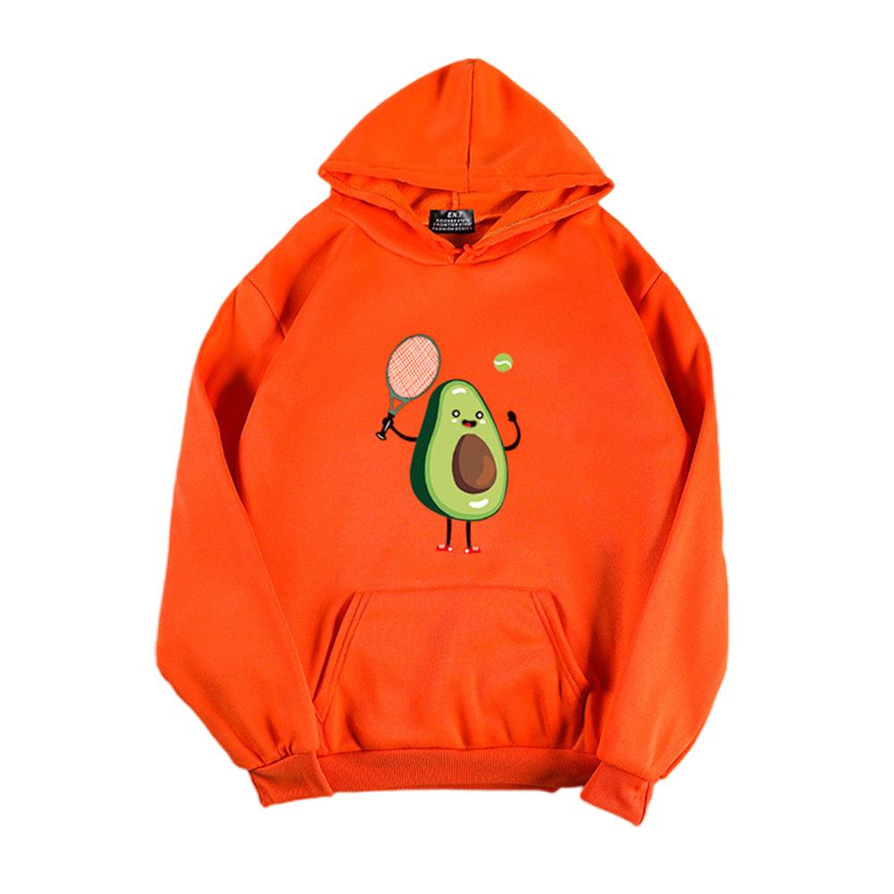 Men Women Thicken Hoodie Sweatshirt Cartoon Avocado Loose Autumn Winter Pullover Tops Orange_S