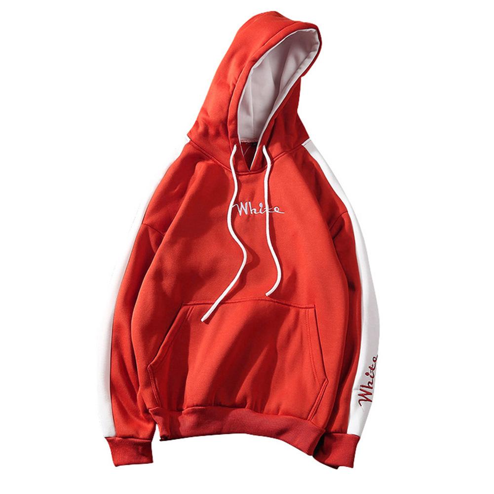 Men Fashion Hooded Sweatshirt Long-Sleeve Matching Color Casual Coat Tops for Winter Autumn Orange_M