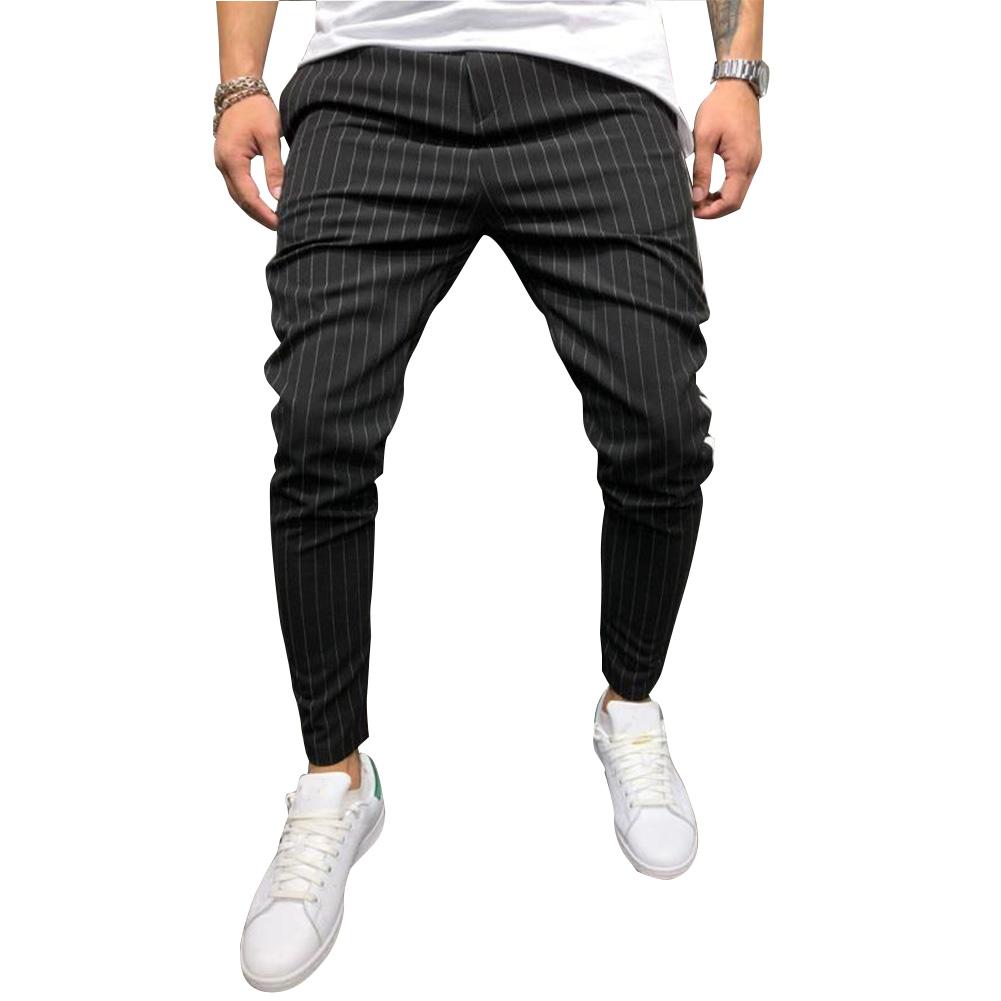 Men Casual All-match Stripe Twill Harem Pants black_S